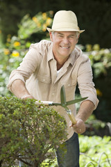 Portrait of smiling senior man pruning bush
