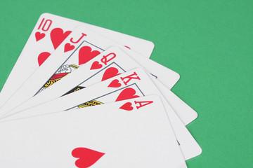 Hearts royal flush playing cards