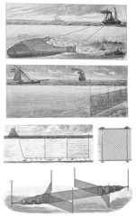 Vintage drawing of fishing techniques and nets, early 1900