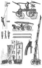 Vintage drawing of firefighting machines and field techniques
