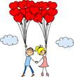 Валентина каракули мальчик и девочка, вектор