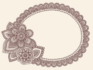 Lace Doily Henna Flower Doodle Vector Frame