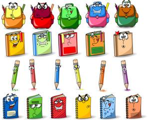 Мультфильм школьные ранцы, карандаши, книги, тетради