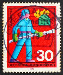 Postage stamp Germany 1970 Fireman