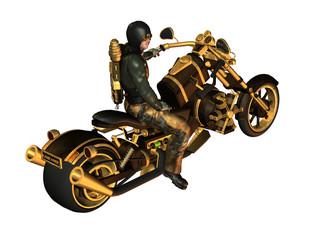 biker auf einem Steampunk motorrad