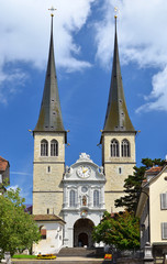 Hofkirche cathedral in Luzern, Swizterland, the Church of St. Le