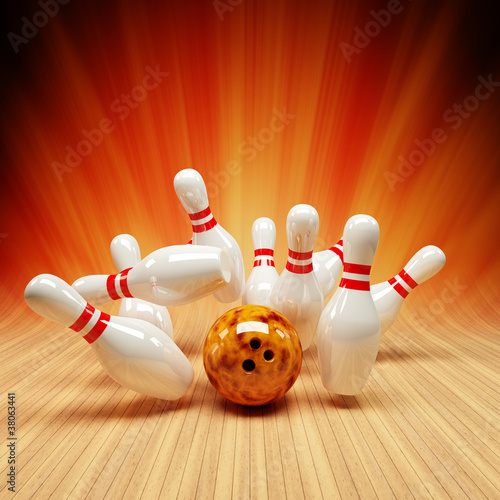 Bowling Strike orange und rot