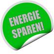 Sticker grün rund curl unten ENERGIE SPAREN!