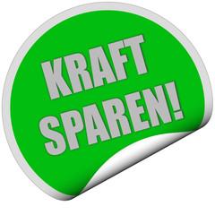 Sticker grün rund curl unten KRAFT SPAREN!