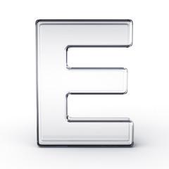 The letter E in glass