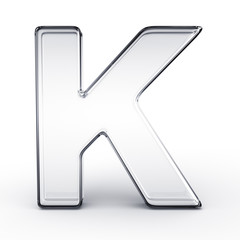 The letter K in glass