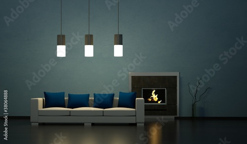 Wohndesign - Sofa vor Kamin blau