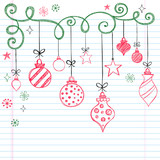 Christmas Tree Ornaments Sketchy Doodles poster