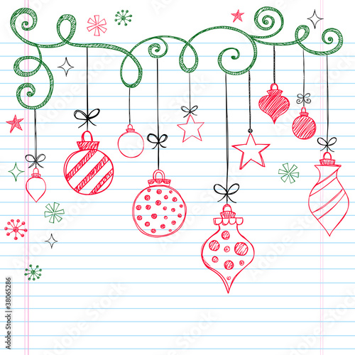 Christmas Tree Ornaments Sketchy Doodles