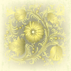 abstract grunge background with spring floral ornament