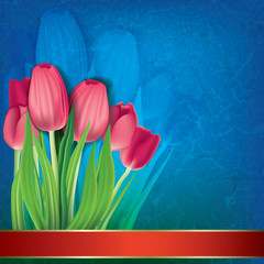 abstract grunge floral background with tulips on blue