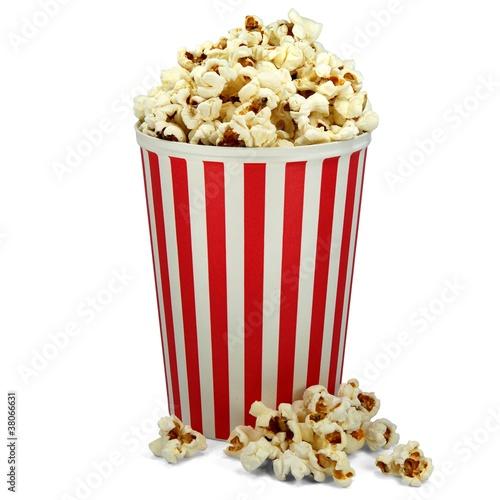 Popcorn in weiß rotem Eimer