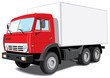 Vector isolated red delivery truck without gradients
