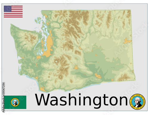 usa states washington flag map emblem