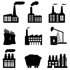 Factory, nuclear power plant and energy icons