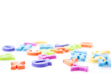 magnetic letters isolated on white