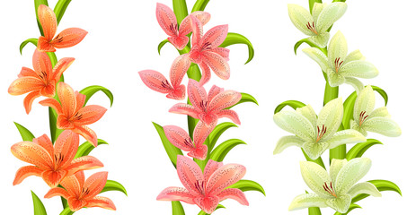 Vertical seamless patterns made of lilies on white background