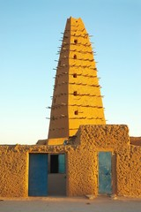 Front view of the mud mosque in Agadez
