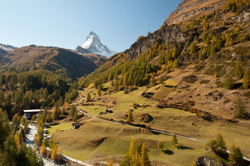 Matterhorn and autumn country near Zermatt, Switzerland