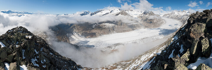panorama of largest european glacier Aletsch, Switzerland