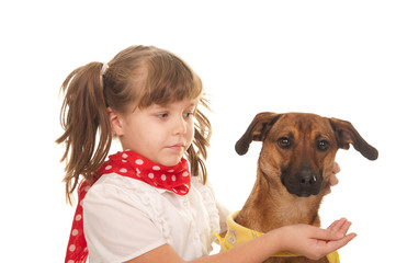 Child and dog, socializing and learning