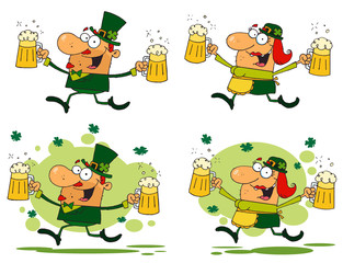 Running Funny Leprechauns.Vector Collection