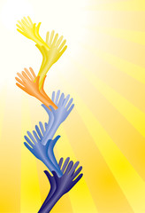 Colorful helping hands supporting each other