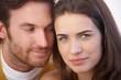 Closeup portrait of loving couple smiling