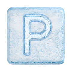 Ice cubes Font. Letter P