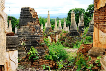 Inthein temples ruins site in Myanmar