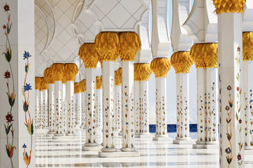 Columns of Sheikh Zayed Mosque in Abu Dhabi, UAE