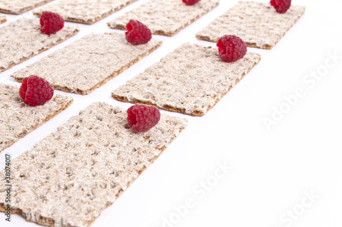 Raspberries over crispbread