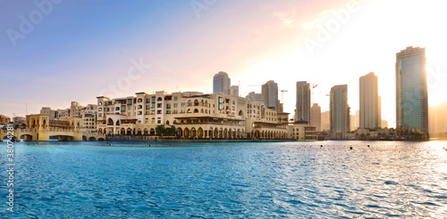 Panoramic view of Dubai downtown at sunset, UAE