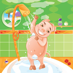 Pig taking a morning shower - Happy animal washing in bath tub