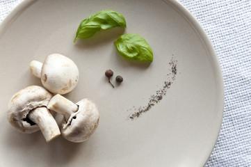 Fresh mushrooms with basil