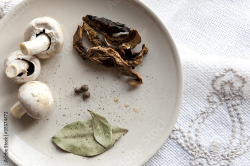 Mushrooms with spices on a plate