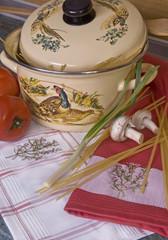 Bowl, pasta and fresh tomatoes