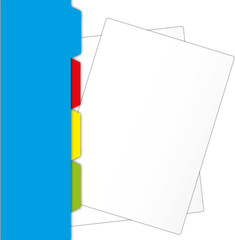 New paper sheet   protrude from blue folder.