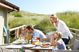 Family on vacation eating outdoors - Fine Art prints