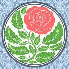 Vintage rose in round frame