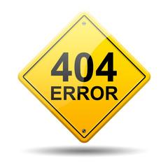 Señal amarilla texto 404 ERROR