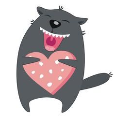 Счастливый кот с колбасой в виде сердца