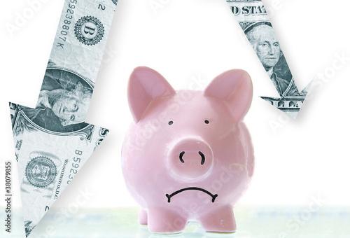 Poster frowning pink piggy bank with downward pointing dollar arrows