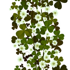 Clover leaves and flowers seamless tile