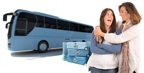 Bus et valises , mère et fille 02